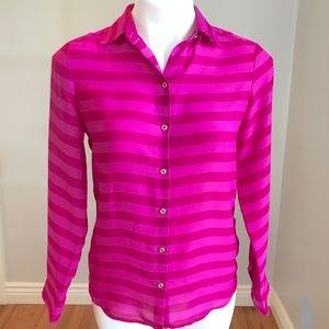Banana Republic Pink Stripe Button Up Shirt